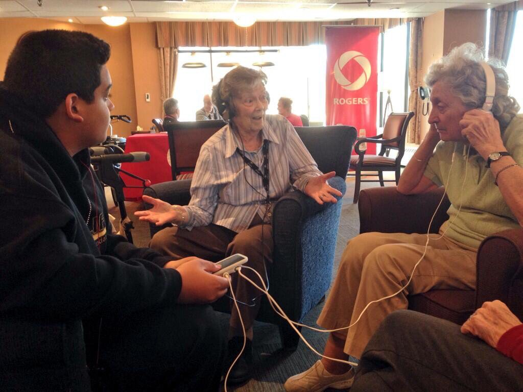 Seniors listening to music
