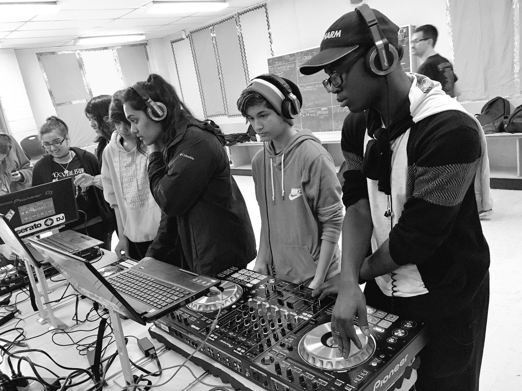 Students learning in BBASS DJ Program